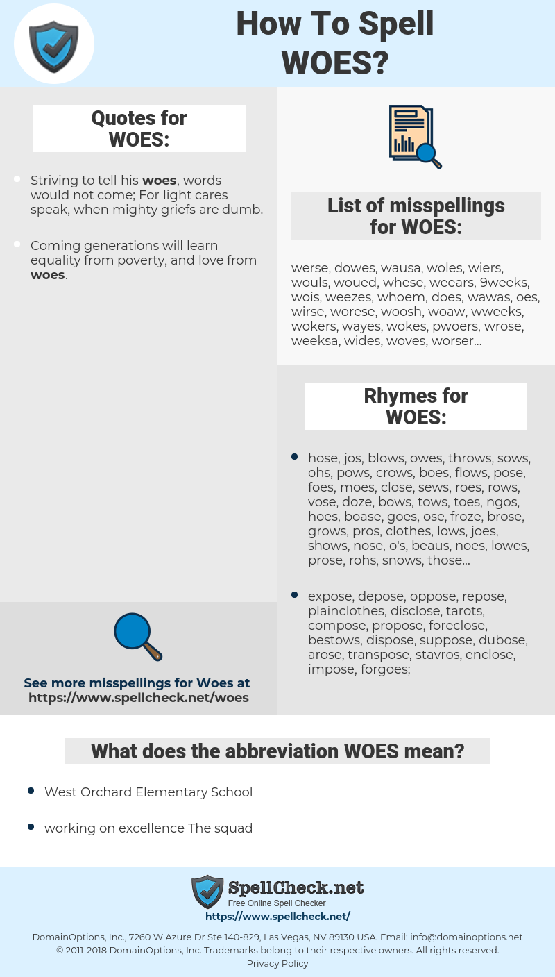 WOES, spellcheck WOES, how to spell WOES, how do you spell WOES, correct spelling for WOES