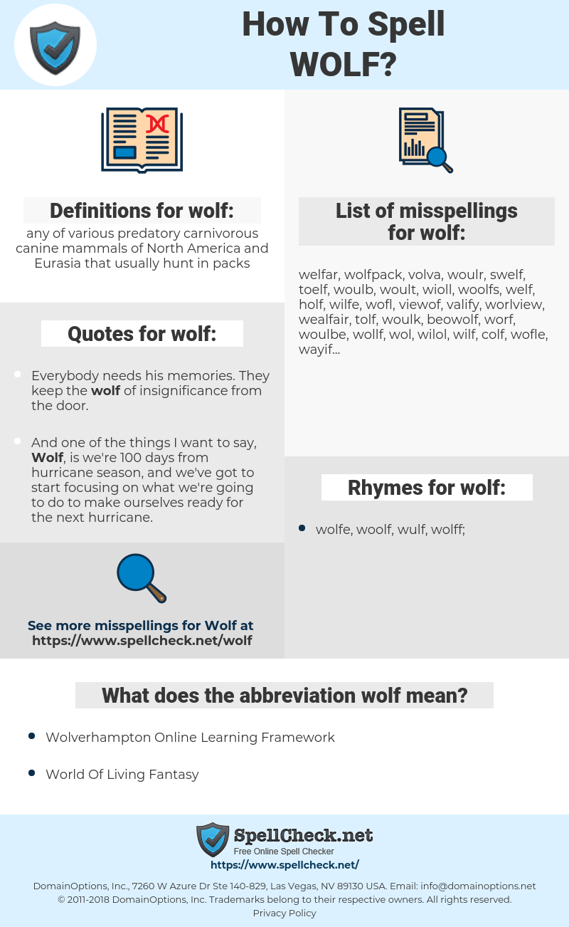 wolf, spellcheck wolf, how to spell wolf, how do you spell wolf, correct spelling for wolf