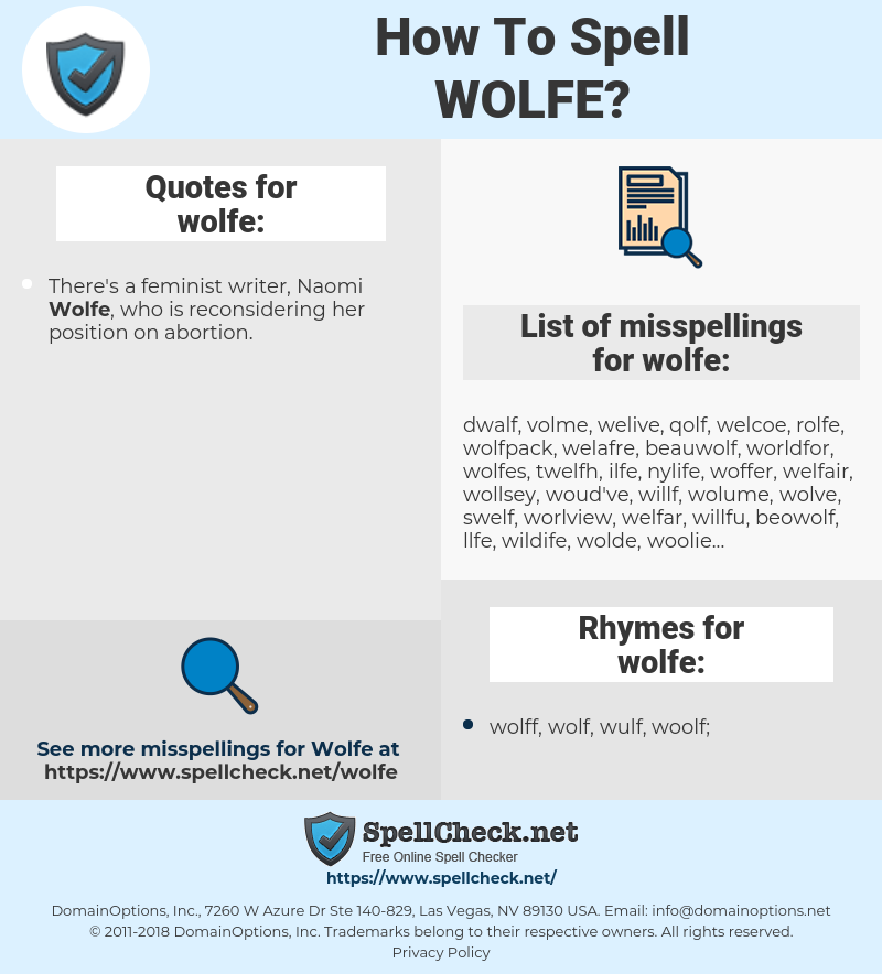 wolfe, spellcheck wolfe, how to spell wolfe, how do you spell wolfe, correct spelling for wolfe