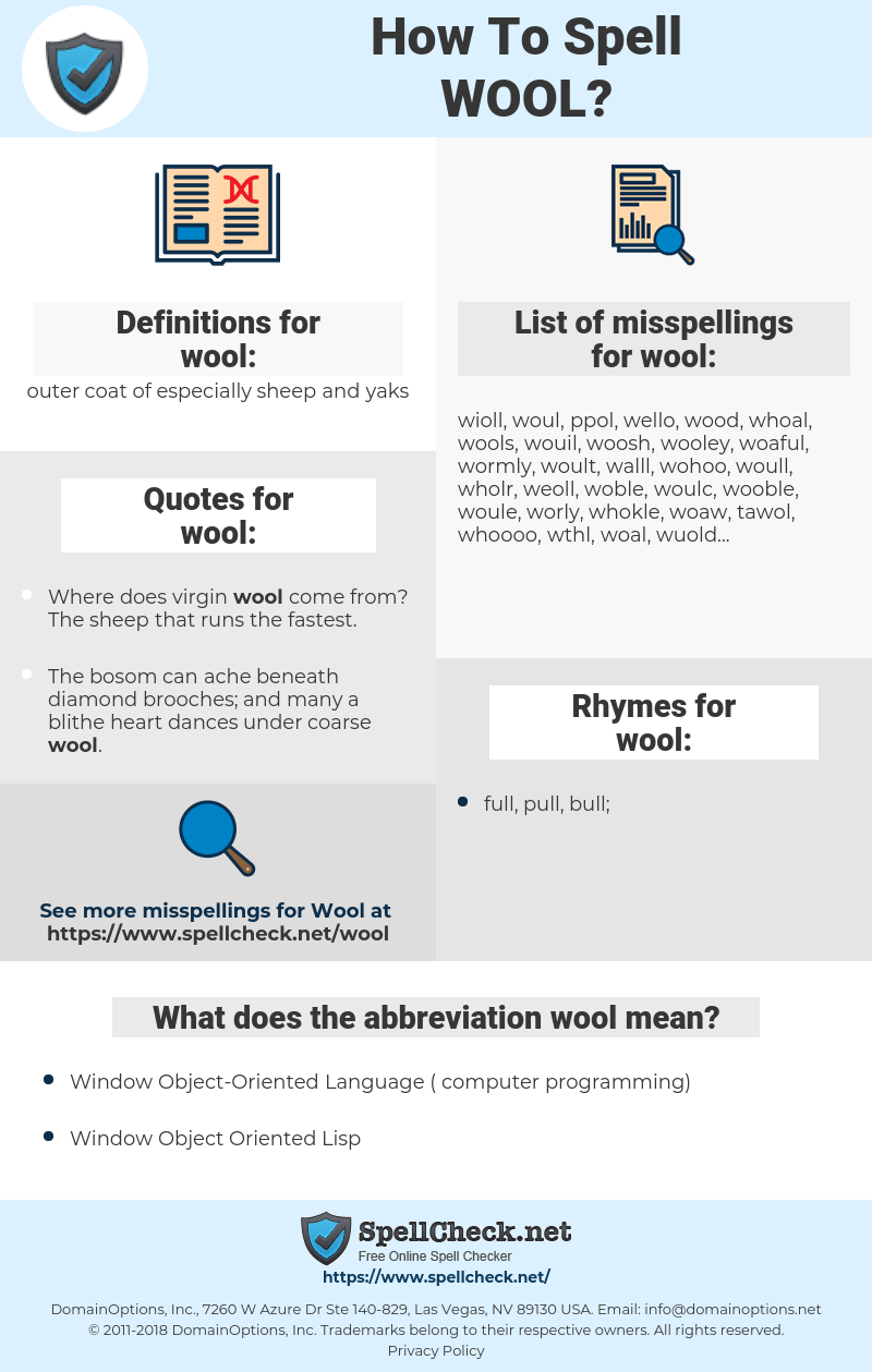 wool, spellcheck wool, how to spell wool, how do you spell wool, correct spelling for wool