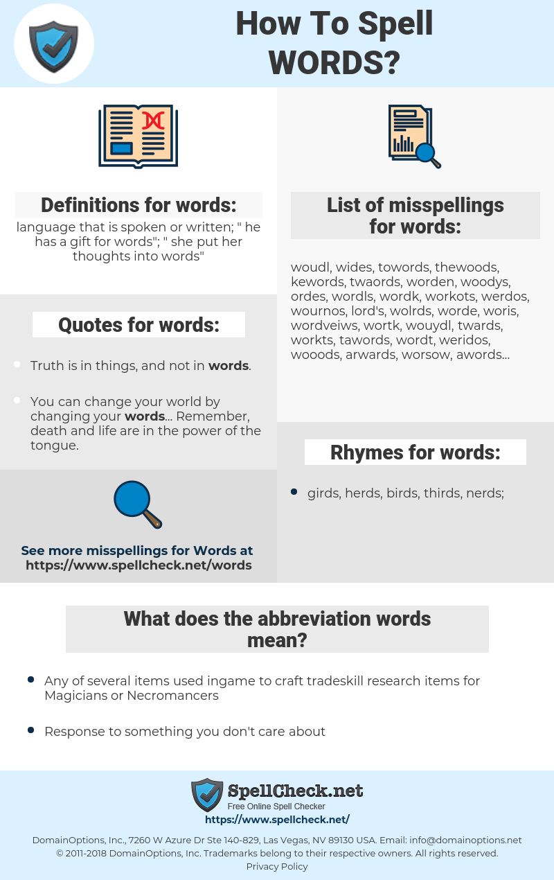 words, spellcheck words, how to spell words, how do you spell words, correct spelling for words