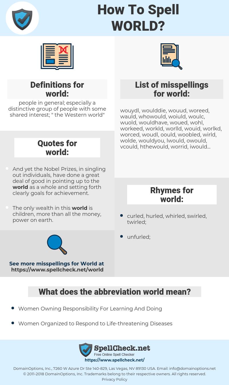 world, spellcheck world, how to spell world, how do you spell world, correct spelling for world