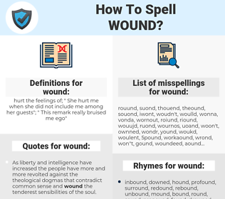 wound, spellcheck wound, how to spell wound, how do you spell wound, correct spelling for wound