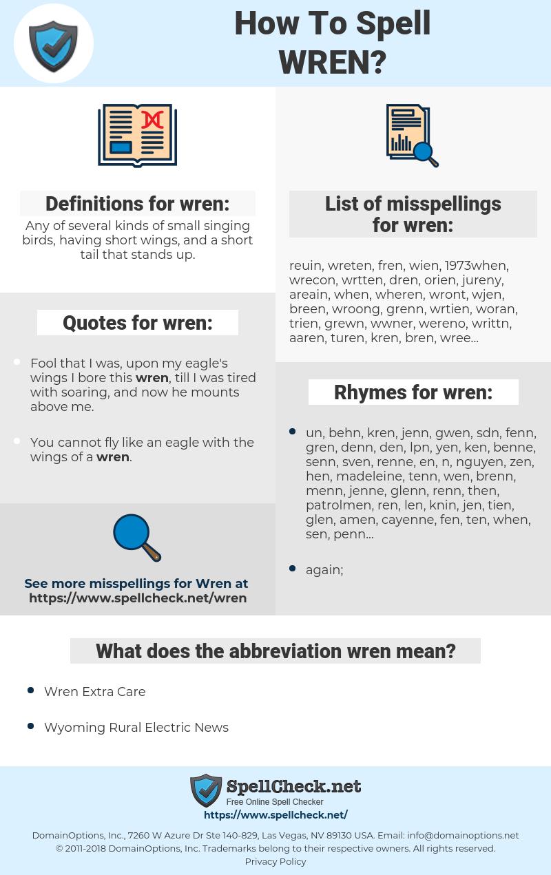 wren, spellcheck wren, how to spell wren, how do you spell wren, correct spelling for wren