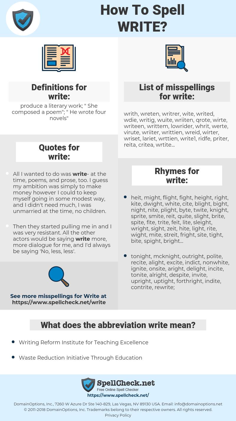 write, spellcheck write, how to spell write, how do you spell write, correct spelling for write