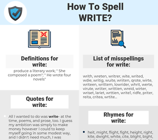 write, spellcheck write, how to spell write, how do you spell write, correct spelling for write