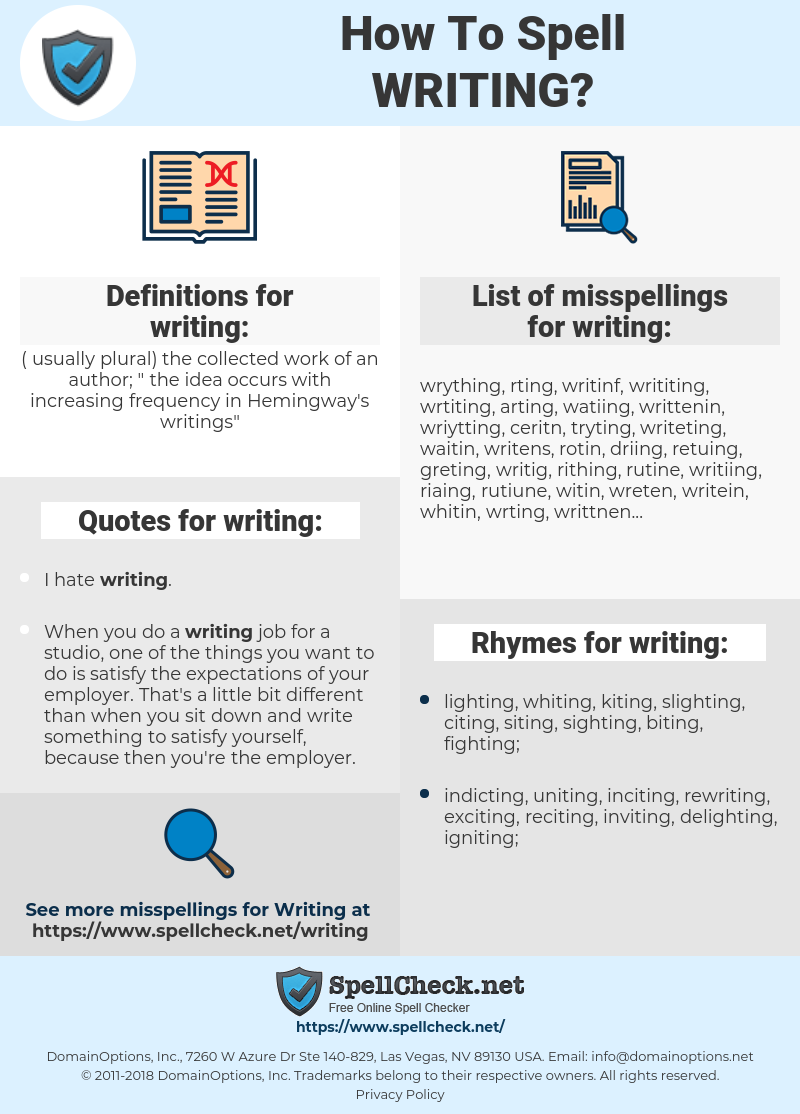 writing, spellcheck writing, how to spell writing, how do you spell writing, correct spelling for writing