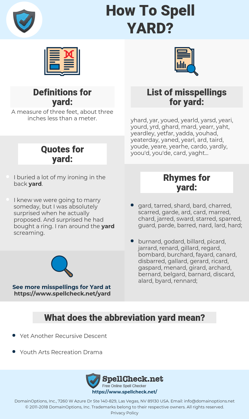yard, spellcheck yard, how to spell yard, how do you spell yard, correct spelling for yard