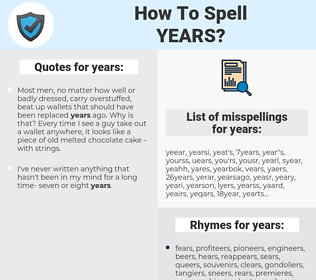 years, spellcheck years, how to spell years, how do you spell years, correct spelling for years