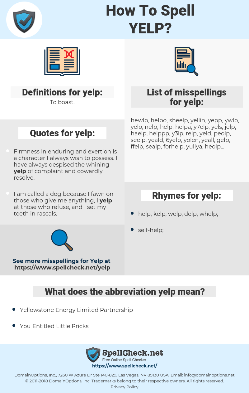 yelp, spellcheck yelp, how to spell yelp, how do you spell yelp, correct spelling for yelp