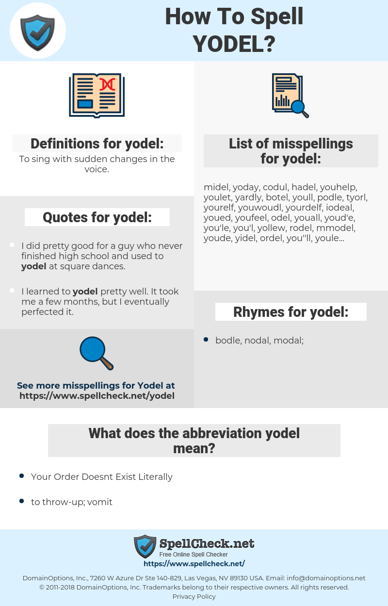 yodel, spellcheck yodel, how to spell yodel, how do you spell yodel, correct spelling for yodel