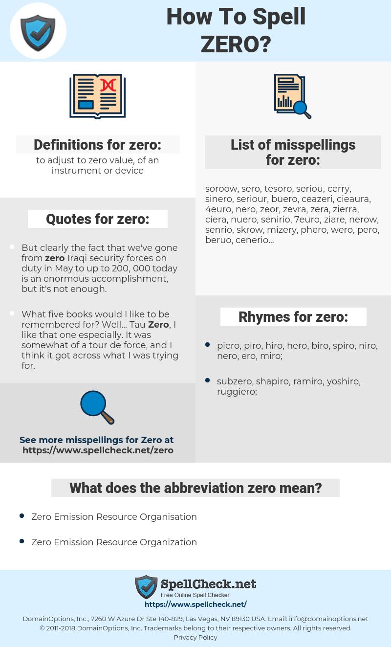zero, spellcheck zero, how to spell zero, how do you spell zero, correct spelling for zero