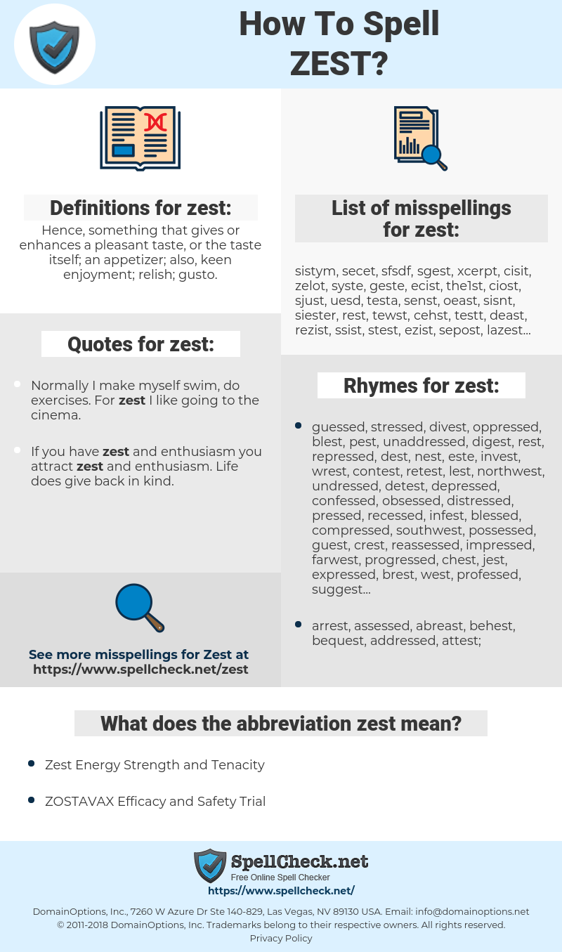 zest, spellcheck zest, how to spell zest, how do you spell zest, correct spelling for zest