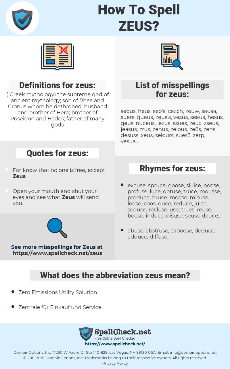 zeus, spellcheck zeus, how to spell zeus, how do you spell zeus, correct spelling for zeus