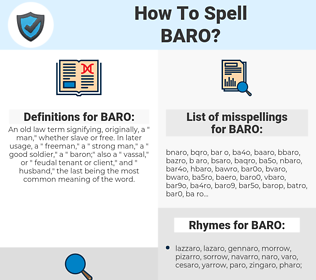 BARO, spellcheck BARO, how to spell BARO, how do you spell BARO, correct spelling for BARO