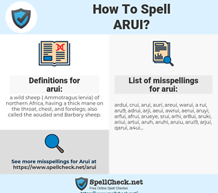 arui, spellcheck arui, how to spell arui, how do you spell arui, correct spelling for arui
