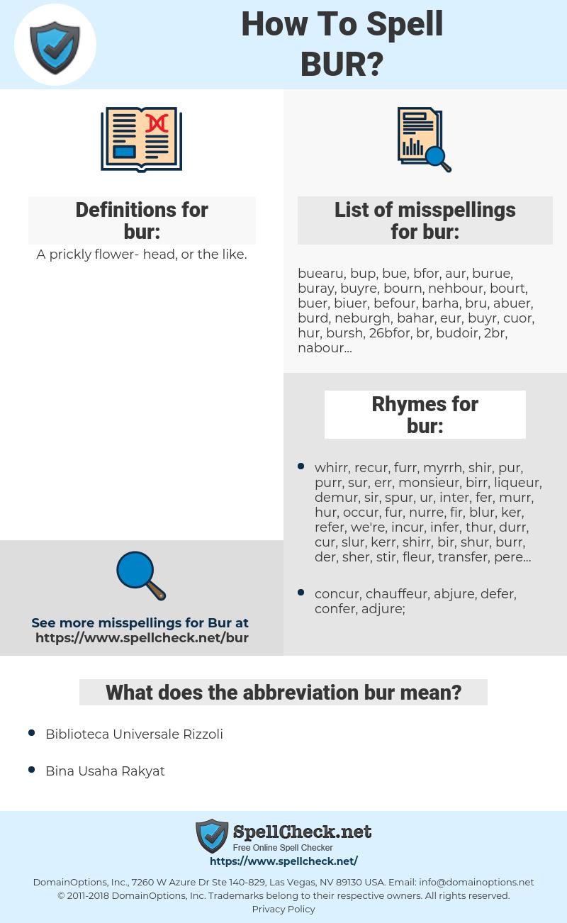 bur, spellcheck bur, how to spell bur, how do you spell bur, correct spelling for bur