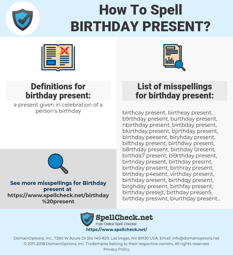 How To Spell Birthday Present And How To Misspell It Too