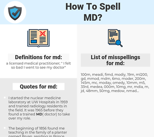 md, spellcheck md, how to spell md, how do you spell md, correct spelling for md