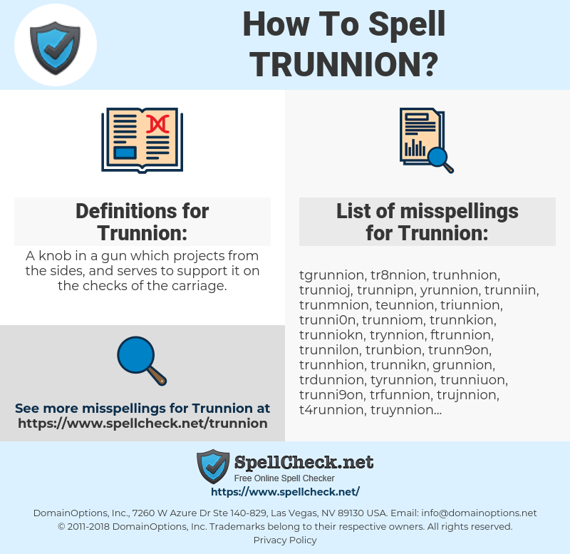 How To Spell Trunnion (And How To Misspell It Too) | Spellcheck net