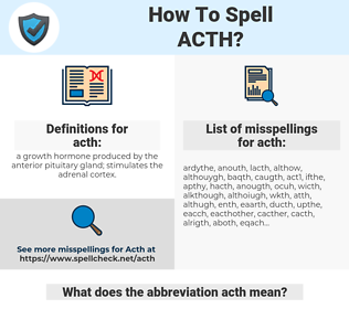 acth, spellcheck acth, how to spell acth, how do you spell acth, correct spelling for acth