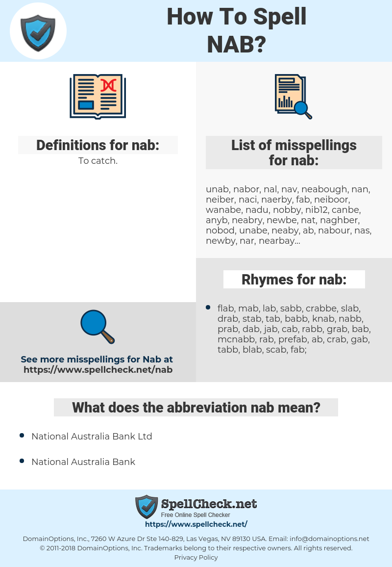 nab, spellcheck nab, how to spell nab, how do you spell nab, correct spelling for nab