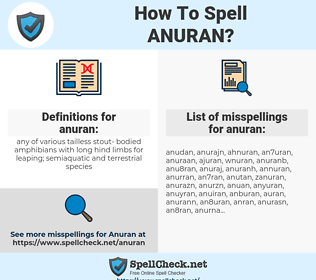 anuran, spellcheck anuran, how to spell anuran, how do you spell anuran, correct spelling for anuran