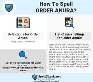 Order Anura, spellcheck Order Anura, how to spell Order Anura, how do you spell Order Anura, correct spelling for Order Anura
