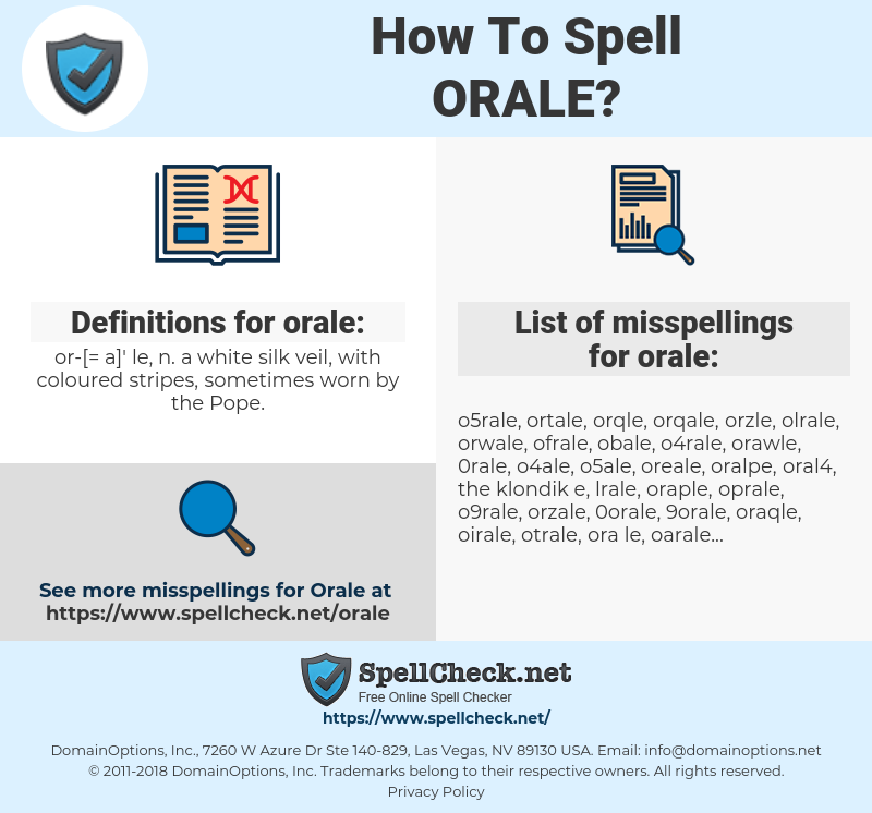 orale, spellcheck orale, how to spell orale, how do you spell orale, correct spelling for orale