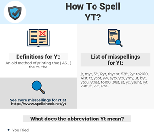 Yt, spellcheck Yt, how to spell Yt, how do you spell Yt, correct spelling for Yt
