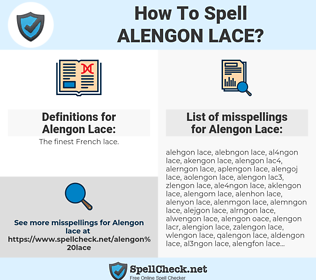 Alengon Lace, spellcheck Alengon Lace, how to spell Alengon Lace, how do you spell Alengon Lace, correct spelling for Alengon Lace