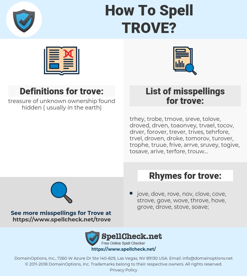 trove, spellcheck trove, how to spell trove, how do you spell trove, correct spelling for trove