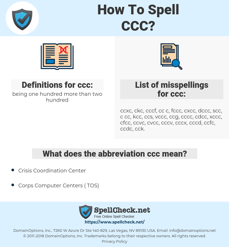 ccc, spellcheck ccc, how to spell ccc, how do you spell ccc, correct spelling for ccc