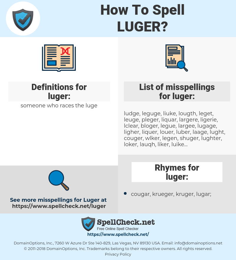 luger, spellcheck luger, how to spell luger, how do you spell luger, correct spelling for luger