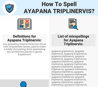 Ayapana Triplinervis, spellcheck Ayapana Triplinervis, how to spell Ayapana Triplinervis, how do you spell Ayapana Triplinervis, correct spelling for Ayapana Triplinervis