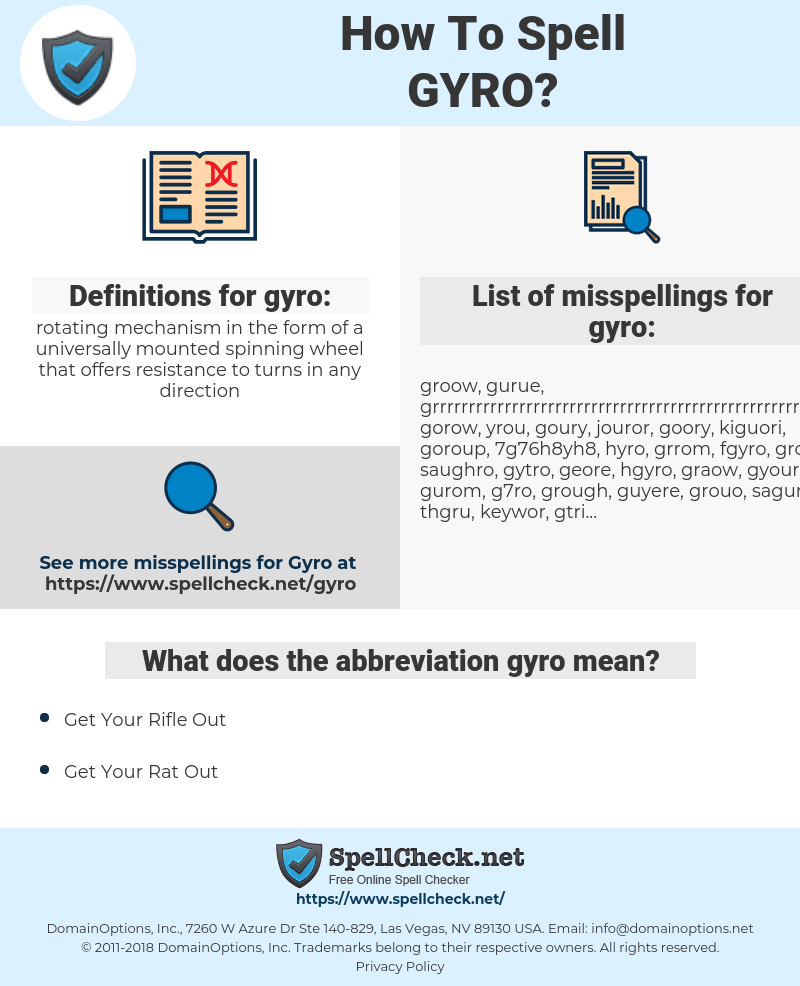 gyro, spellcheck gyro, how to spell gyro, how do you spell gyro, correct spelling for gyro