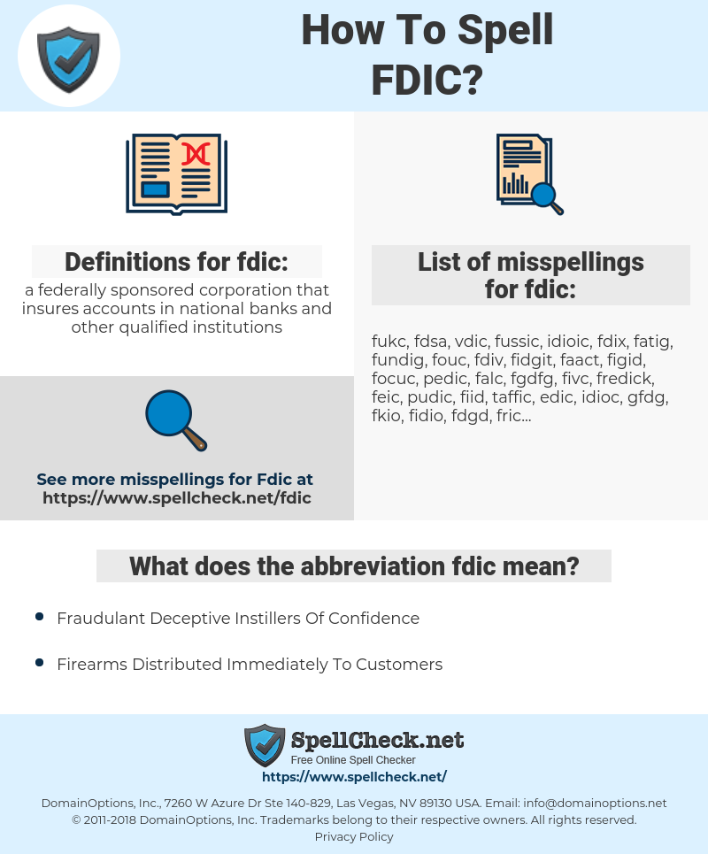 fdic, spellcheck fdic, how to spell fdic, how do you spell fdic, correct spelling for fdic