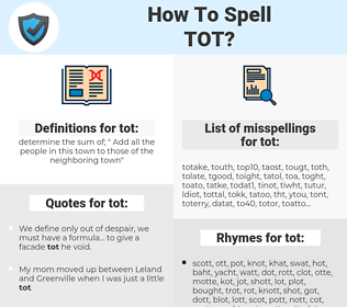 tot, spellcheck tot, how to spell tot, how do you spell tot, correct spelling for tot