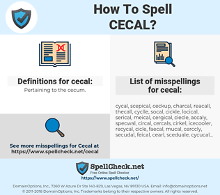 cecal, spellcheck cecal, how to spell cecal, how do you spell cecal, correct spelling for cecal