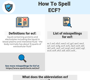 ecf, spellcheck ecf, how to spell ecf, how do you spell ecf, correct spelling for ecf