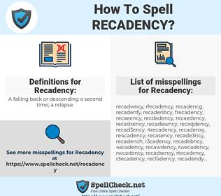 Recadency, spellcheck Recadency, how to spell Recadency, how do you spell Recadency, correct spelling for Recadency