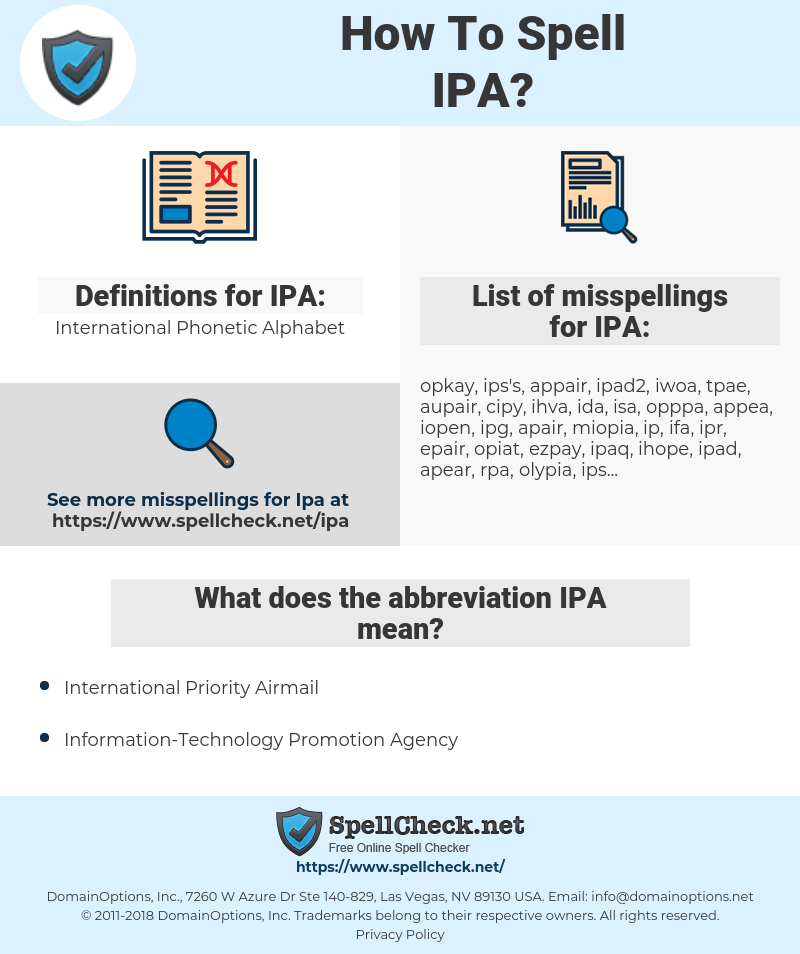 IPA, spellcheck IPA, how to spell IPA, how do you spell IPA, correct spelling for IPA