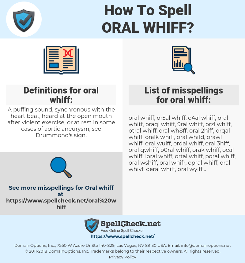 oral whiff, spellcheck oral whiff, how to spell oral whiff, how do you spell oral whiff, correct spelling for oral whiff