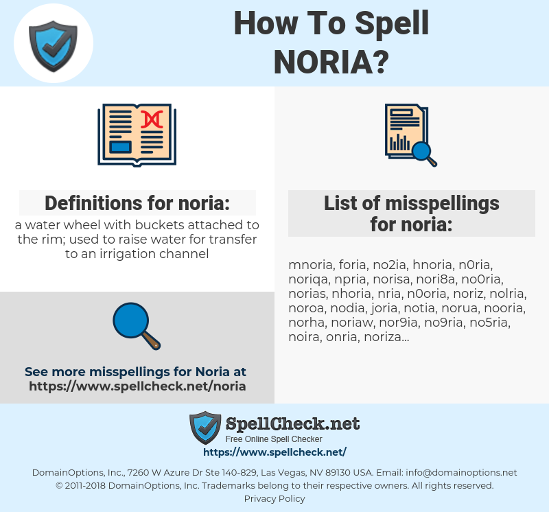 noria, spellcheck noria, how to spell noria, how do you spell noria, correct spelling for noria