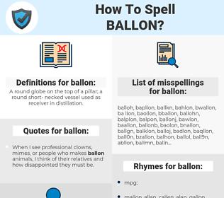 ballon, spellcheck ballon, how to spell ballon, how do you spell ballon, correct spelling for ballon
