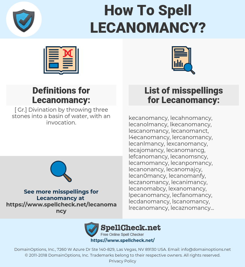 Lecanomancy, spellcheck Lecanomancy, how to spell Lecanomancy, how do you spell Lecanomancy, correct spelling for Lecanomancy