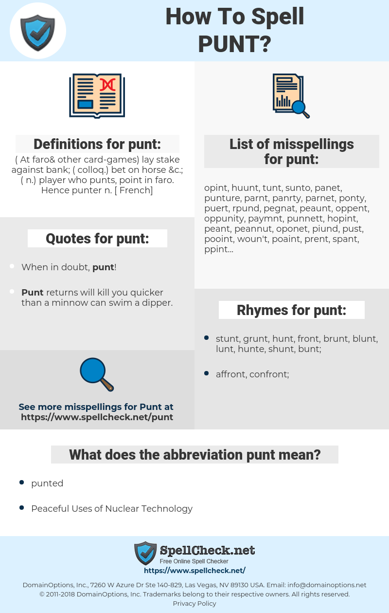 punt, spellcheck punt, how to spell punt, how do you spell punt, correct spelling for punt