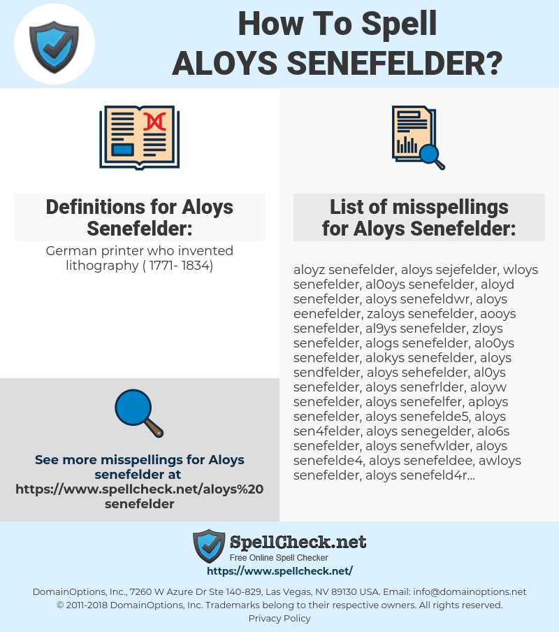 Aloys Senefelder, spellcheck Aloys Senefelder, how to spell Aloys Senefelder, how do you spell Aloys Senefelder, correct spelling for Aloys Senefelder