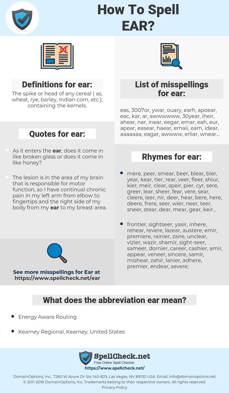 ear, spellcheck ear, how to spell ear, how do you spell ear, correct spelling for ear
