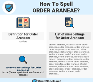 Order Araneae, spellcheck Order Araneae, how to spell Order Araneae, how do you spell Order Araneae, correct spelling for Order Araneae